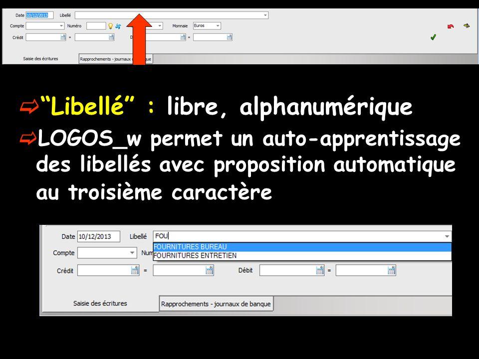 Libellé : libre, alphanumérique LOGOS_w permet un auto-apprentissage des libellés avec proposition automatique au troisième caractère