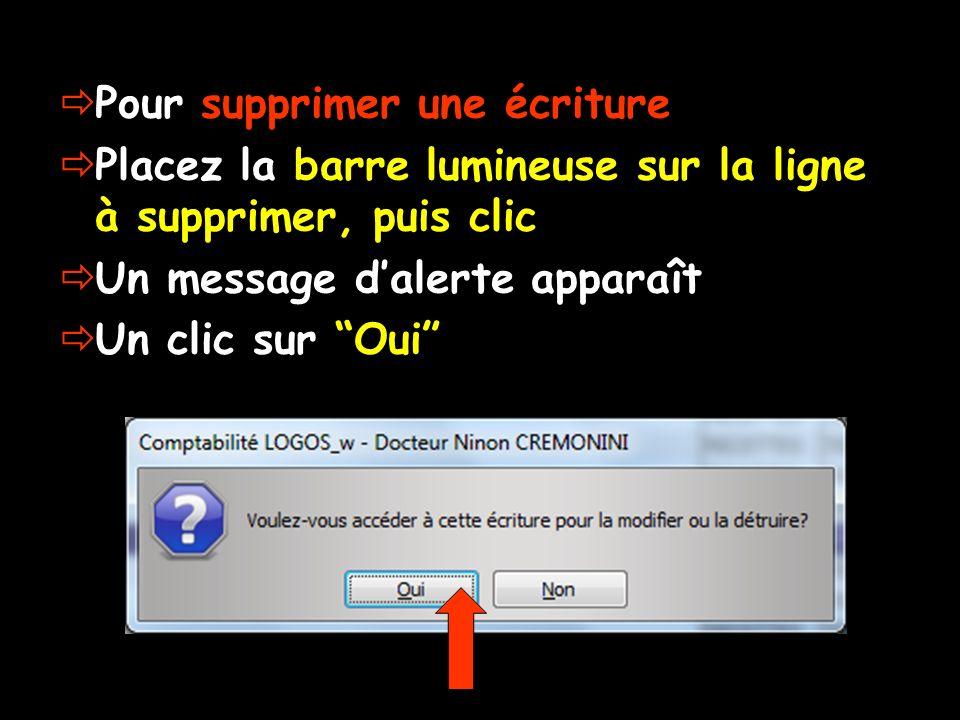 Pour supprimer une écriture Placez la barre lumineuse sur la ligne à supprimer, puis clic Un message dalerte apparaît Un clic sur Oui