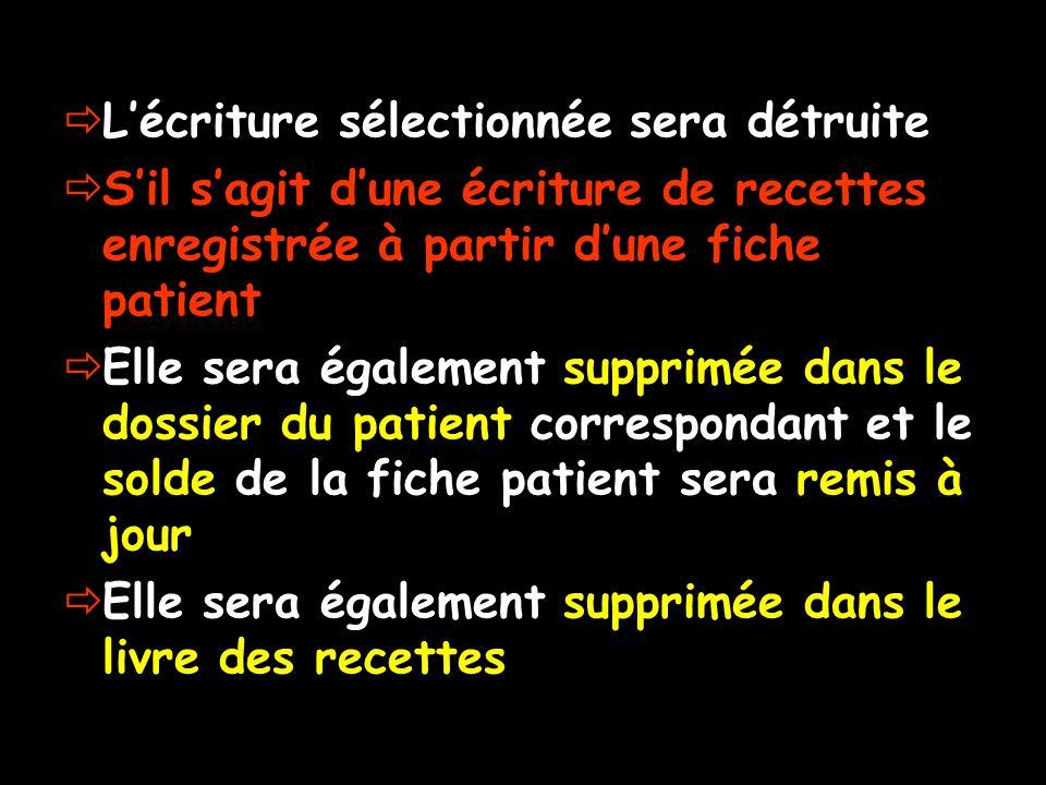 Lécriture sélectionnée sera détruite Sil sagit dune écriture de recettes enregistrée à partir dune fiche patient Elle sera également supprimée dans le