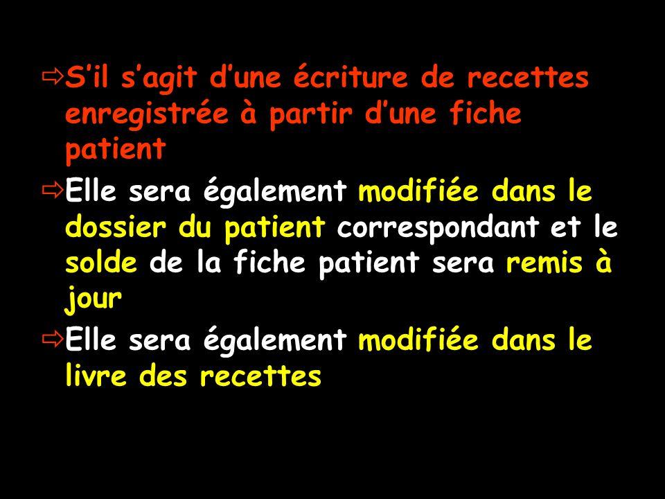 Sil sagit dune écriture de recettes enregistrée à partir dune fiche patient Elle sera également modifiée dans le dossier du patient correspondant et l