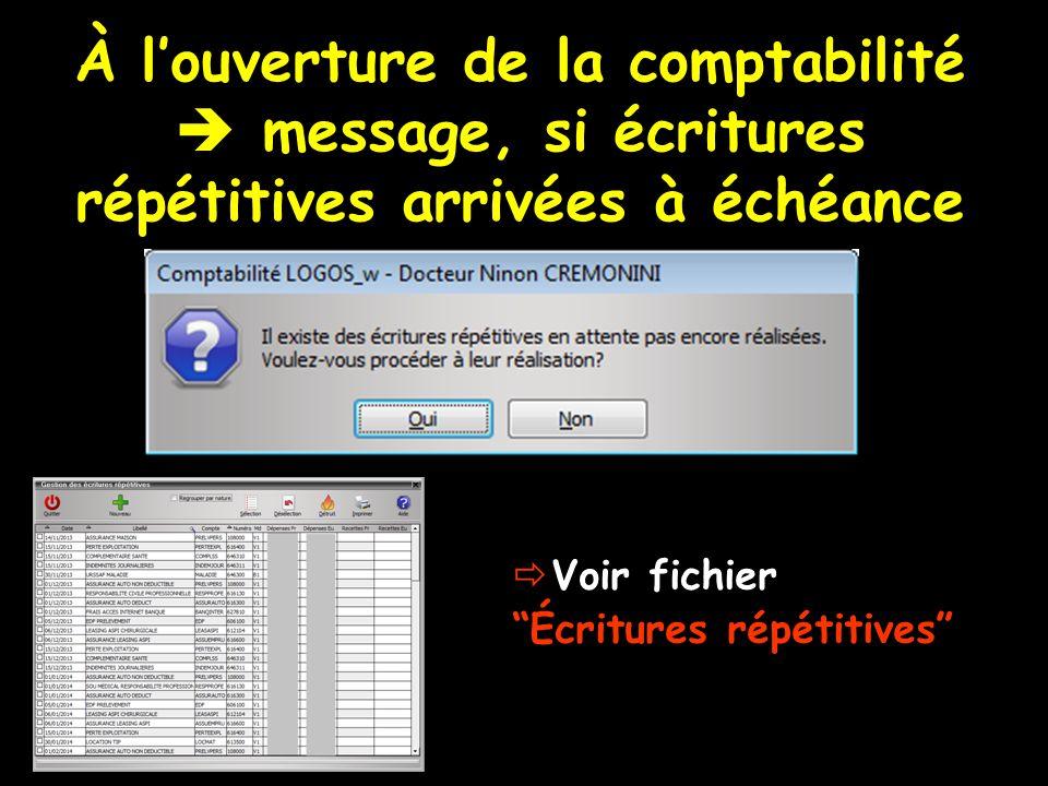 À louverture de la comptabilité message, si écritures répétitives arrivées à échéance Voir fichier Écritures répétitives