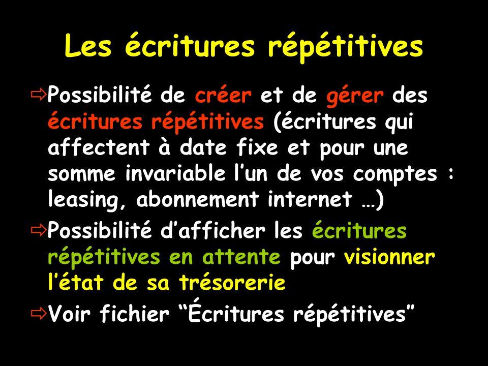 Les écritures répétitives Possibilité de créer et de gérer des écritures répétitives (écritures qui affectent à date fixe et pour une somme invariable