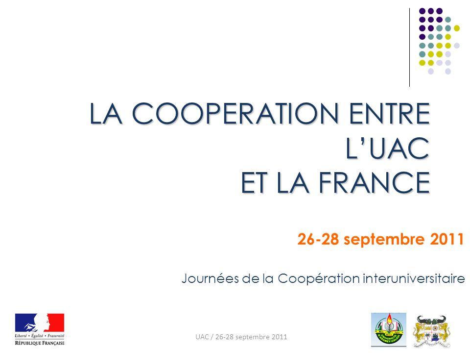 LA COOPERATION ENTRE LUAC ET LA FRANCE 26-28 septembre 2011 Journées de la Coopération interuniversitaire UAC / 26-28 septembre 2011