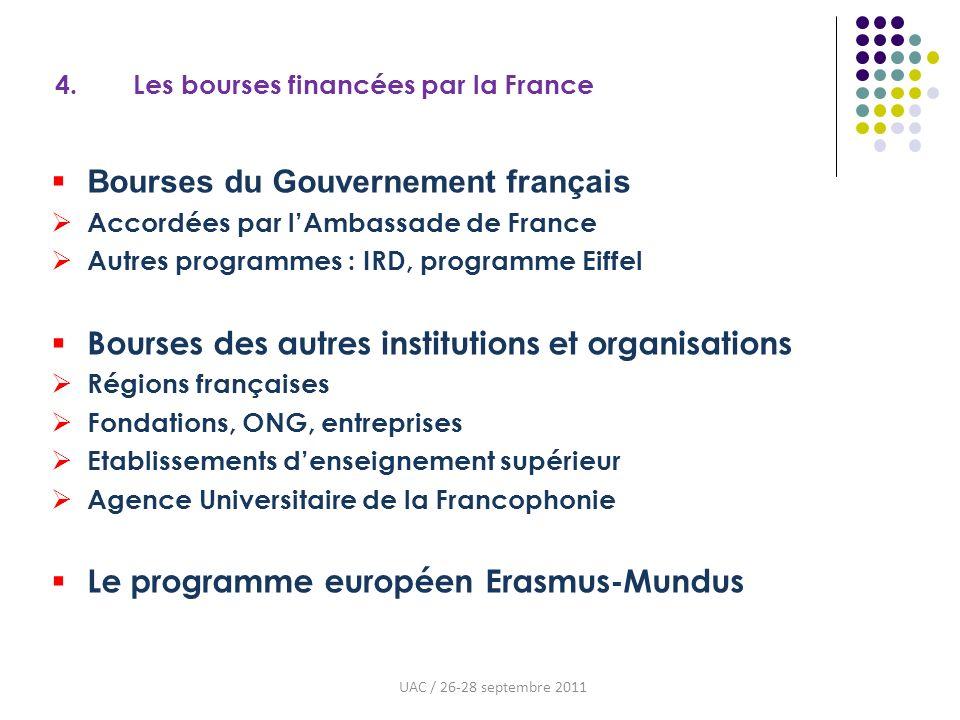 4. Les bourses financées par la France Bourses du Gouvernement français Accordées par lAmbassade de France Autres programmes : IRD, programme Eiffel B
