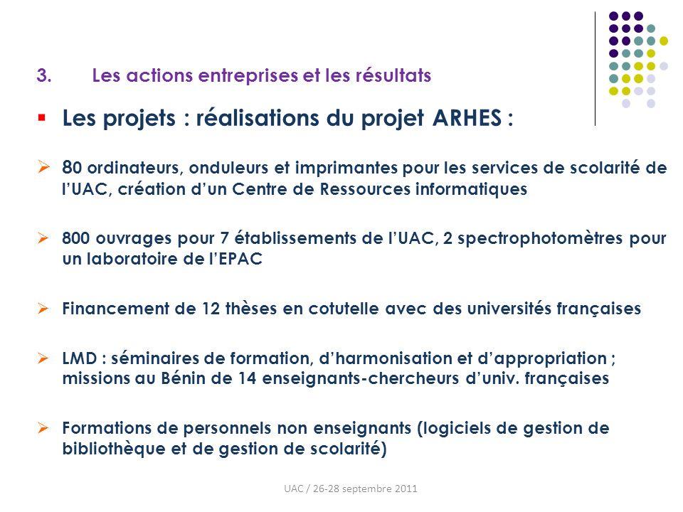 3. Les actions entreprises et les résultats Les projets : réalisations du projet ARHES : 8 0 ordinateurs, onduleurs et imprimantes pour les services d