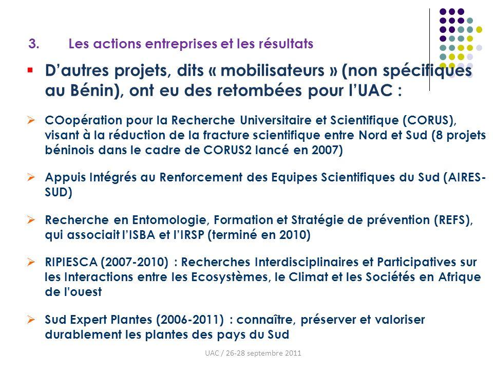 3. Les actions entreprises et les résultats Dautres projets, dits « mobilisateurs » (non spécifiques au Bénin), ont eu des retombées pour lUAC : COopé