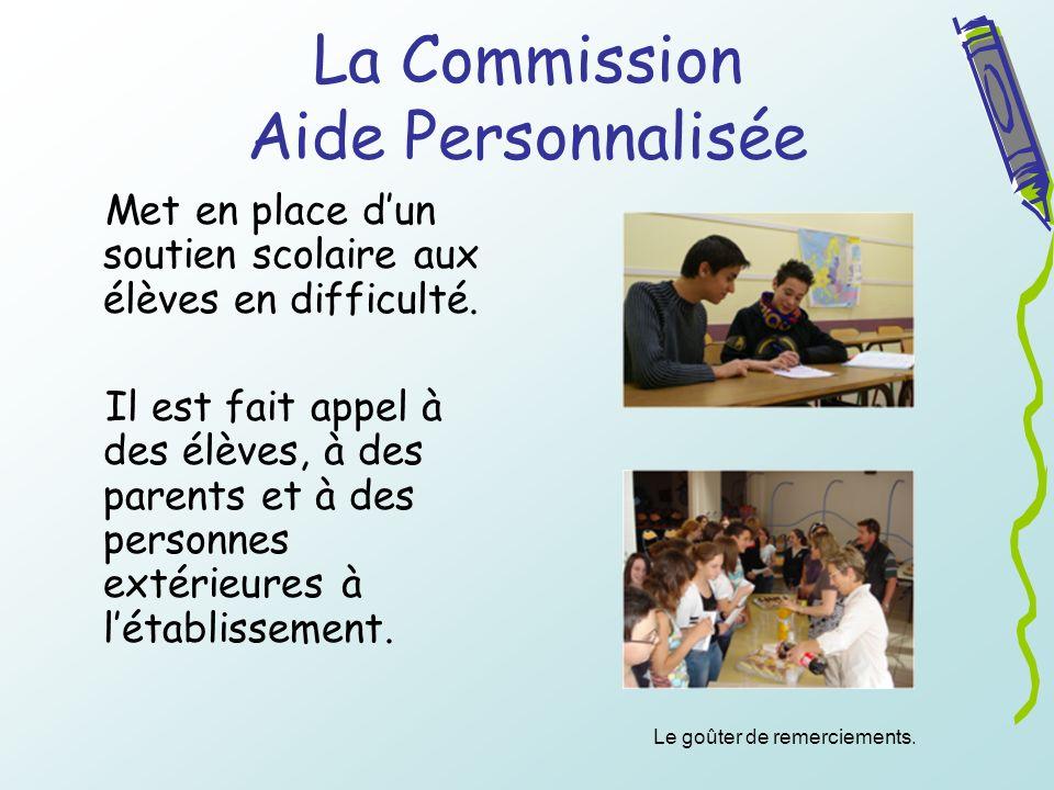 La Commission Aide Personnalisée Met en place dun soutien scolaire aux élèves en difficulté. Il est fait appel à des élèves, à des parents et à des pe