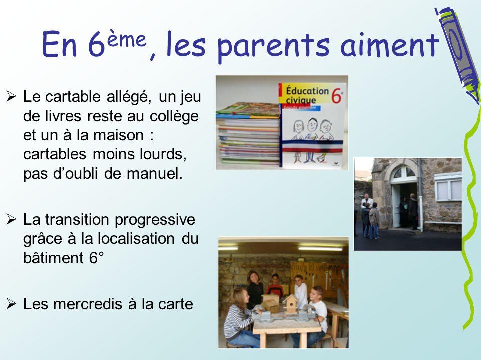 En 6 ème, les parents aiment Le cartable allégé, un jeu de livres reste au collège et un à la maison : cartables moins lourds, pas doubli de manuel. L