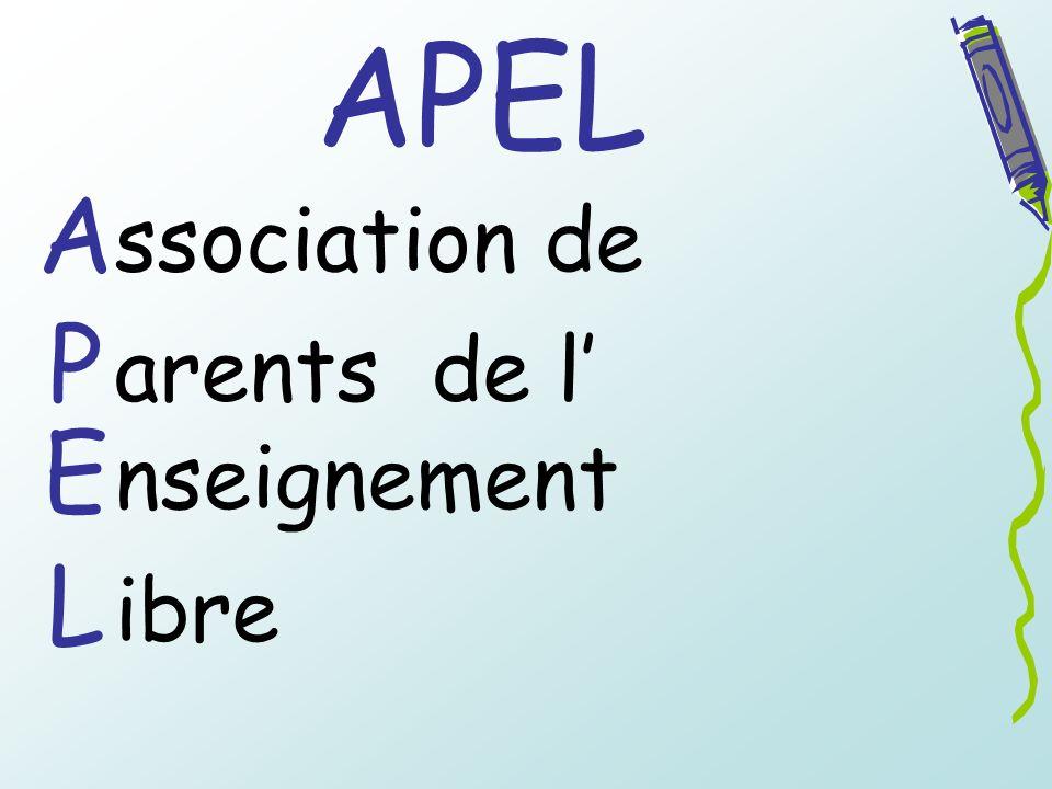 APEL A P E L ssociation de arents de l nseignement ibre