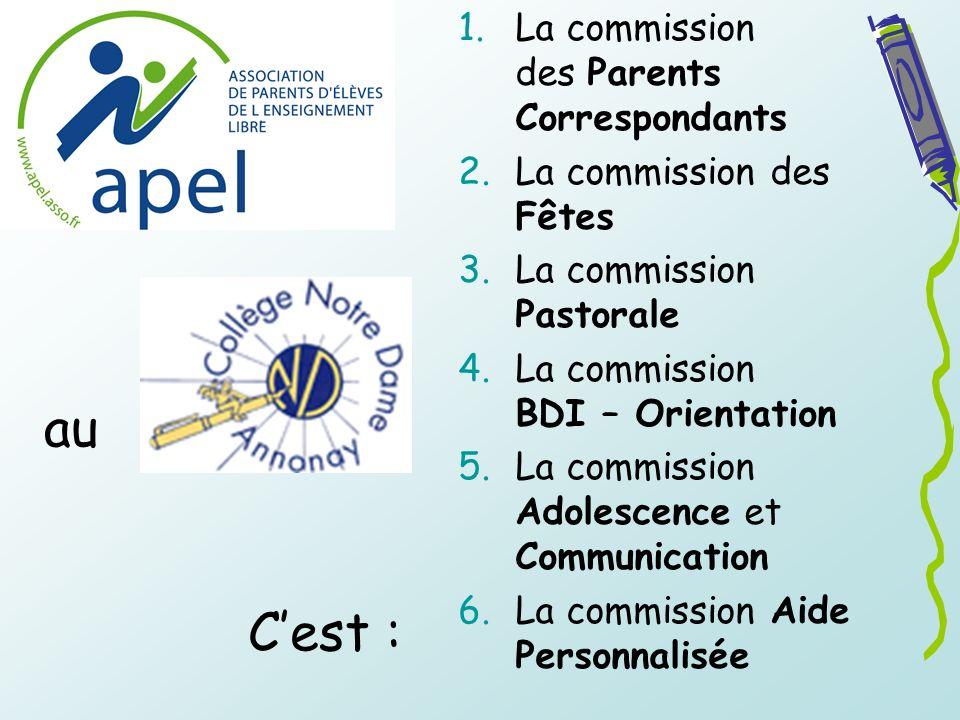 1.La commission des Parents Correspondants 2.La commission des Fêtes 3.La commission Pastorale 4.La commission BDI – Orientation 5.La commission Adole