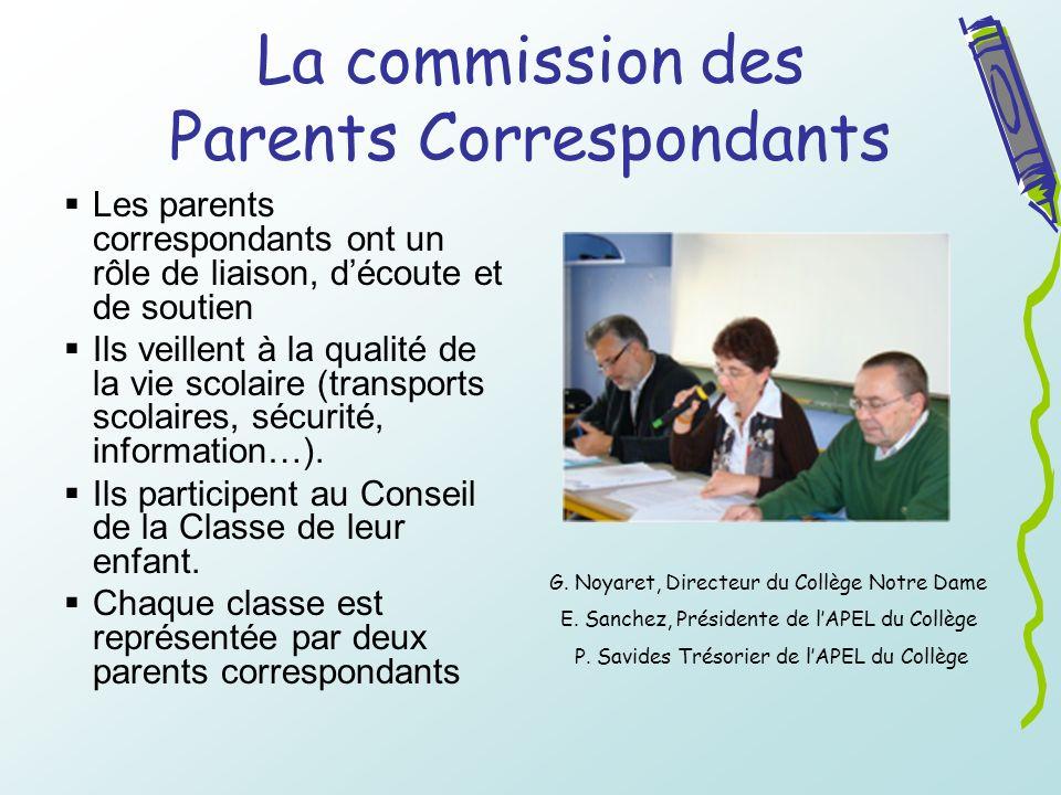 La commission des Parents Correspondants Les parents correspondants ont un rôle de liaison, découte et de soutien Ils veillent à la qualité de la vie