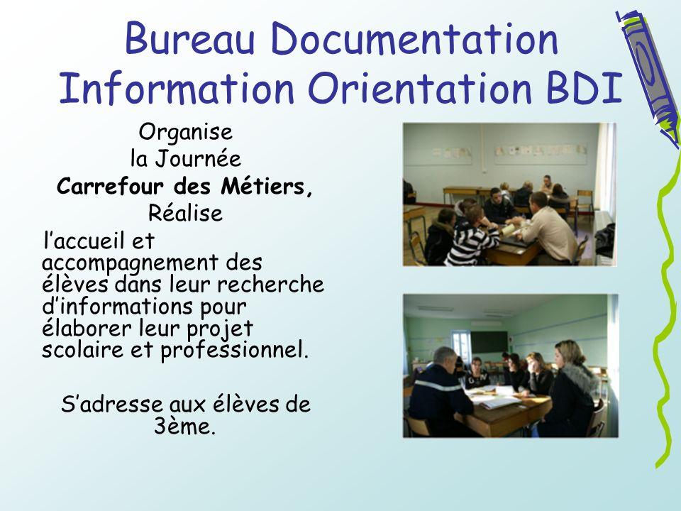 Bureau Documentation Information Orientation BDI Organise la Journée Carrefour des Métiers, Réalise laccueil et accompagnement des élèves dans leur re