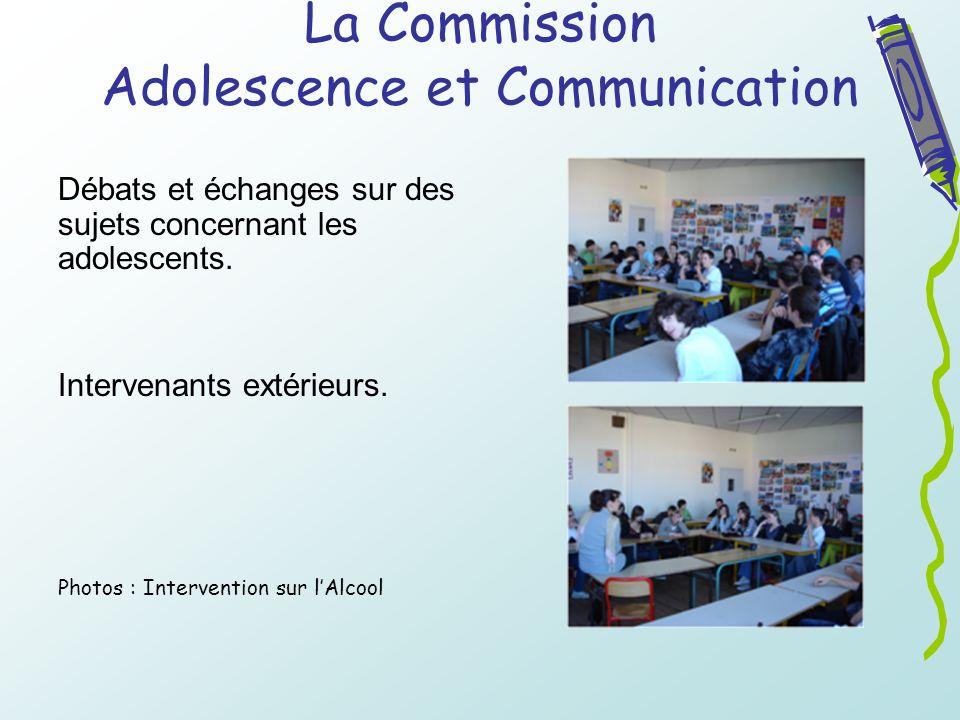 La Commission Adolescence et Communication Débats et échanges sur des sujets concernant les adolescents. Intervenants extérieurs. Photos : Interventio