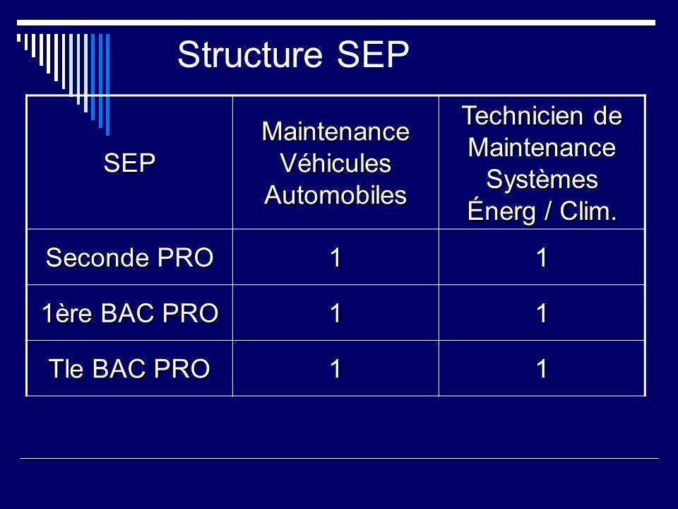 Structure SEP SEP Maintenance Véhicules Automobiles Technicien de Maintenance Systèmes Énerg / Clim. Seconde PRO 11 1ère BAC PRO 11 Tle BAC PRO 11