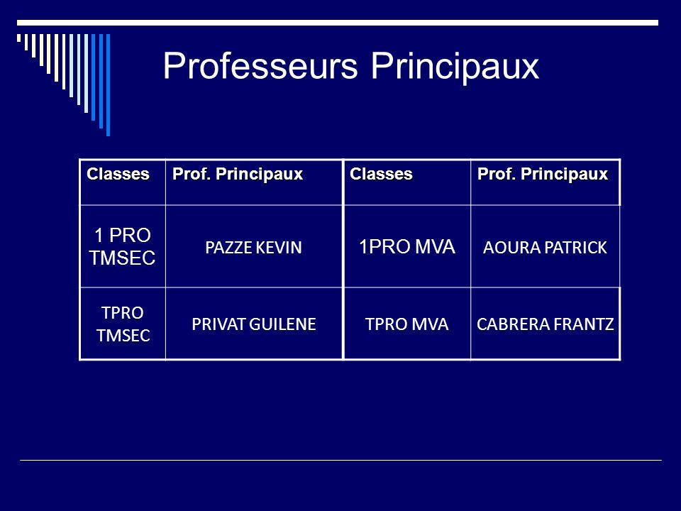 Professeurs Principaux Classes Prof. Principaux Classes 1 PRO TMSEC PAZZE KEVIN 1PRO MVA AOURA PATRICK TPRO TMSEC PRIVAT GUILENETPRO MVACABRERA FRANTZ