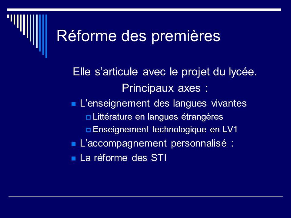 Réforme des premières Elle sarticule avec le projet du lycée. Principaux axes : Lenseignement des langues vivantes Littérature en langues étrangères E