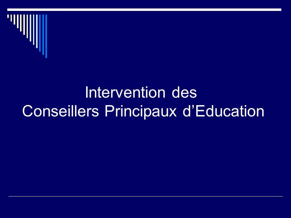 Intervention des Conseillers Principaux dEducation