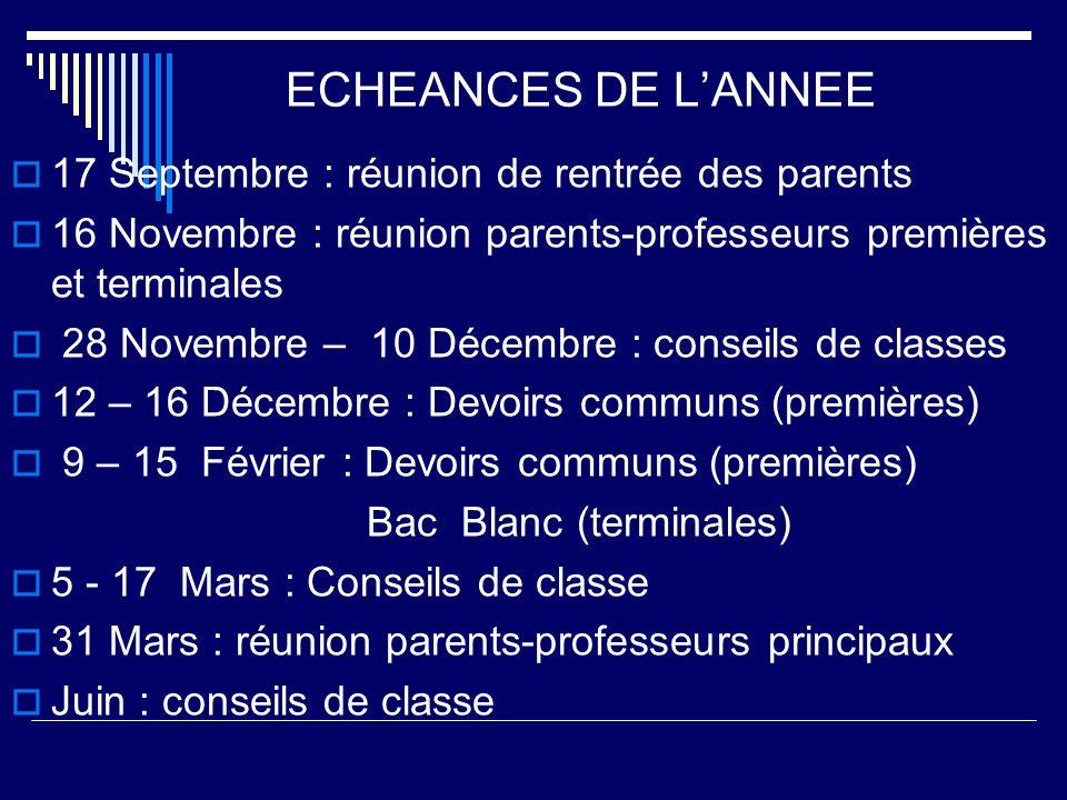 ECHEANCES DE LANNEE 17 Septembre : réunion de rentrée des parents 16 Novembre : réunion parents-professeurs premières et terminales 28 Novembre – 10 D