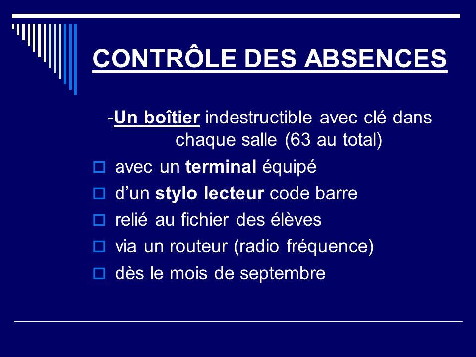 CONTRÔLE DES ABSENCES -Un boîtier indestructible avec clé dans chaque salle (63 au total) avec un terminal équipé dun stylo lecteur code barre relié a