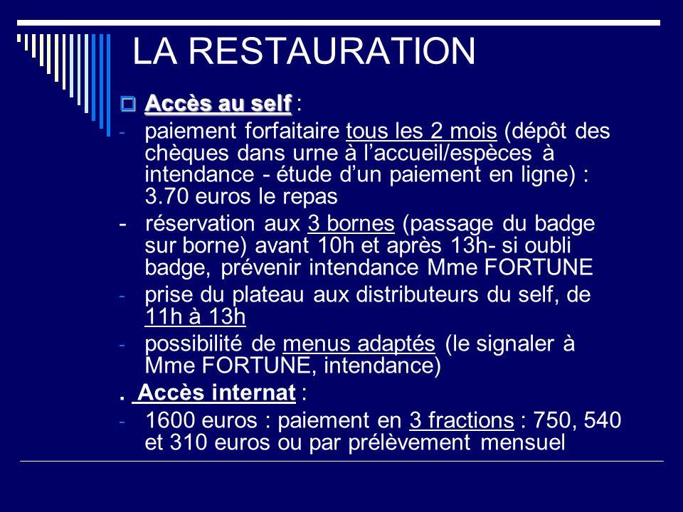 LA RESTAURATION Accès au self Accès au self : - paiement forfaitaire tous les 2 mois (dépôt des chèques dans urne à laccueil/espèces à intendance - ét