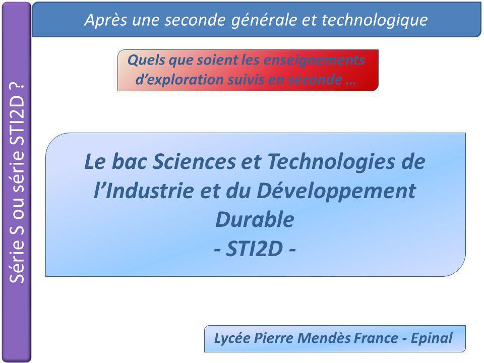 Série S ou série STI2D ? Après une seconde générale et technologique Le bac Sciences et Technologies de lIndustrie et du Développement Durable - STI2D