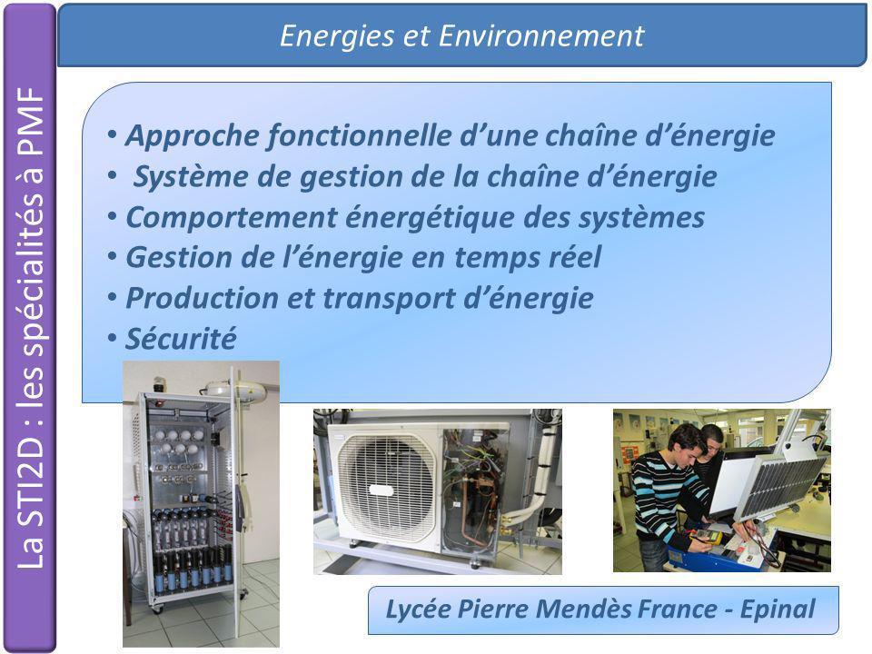Energies et Environnement Lycée Pierre Mendès France - Epinal La STI2D : les spécialités à PMF Approche fonctionnelle dune chaîne dénergie Système de