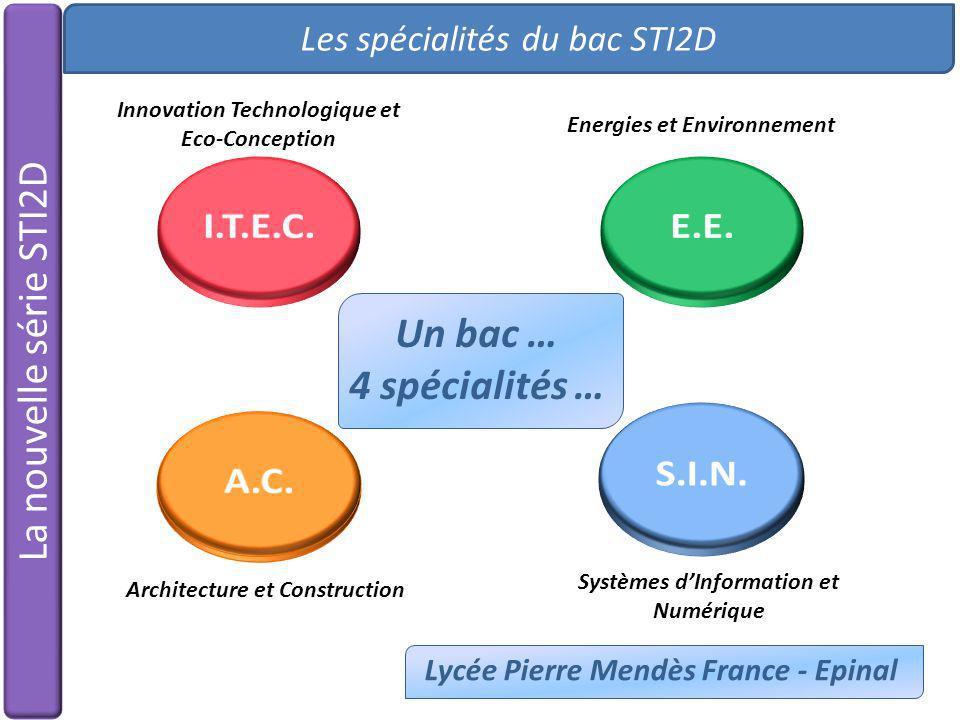 La nouvelle série STI2D Les spécialités du bac STI2D Lycée Pierre Mendès France - Epinal Un bac … 4 spécialités … Innovation Technologique et Eco-Conc
