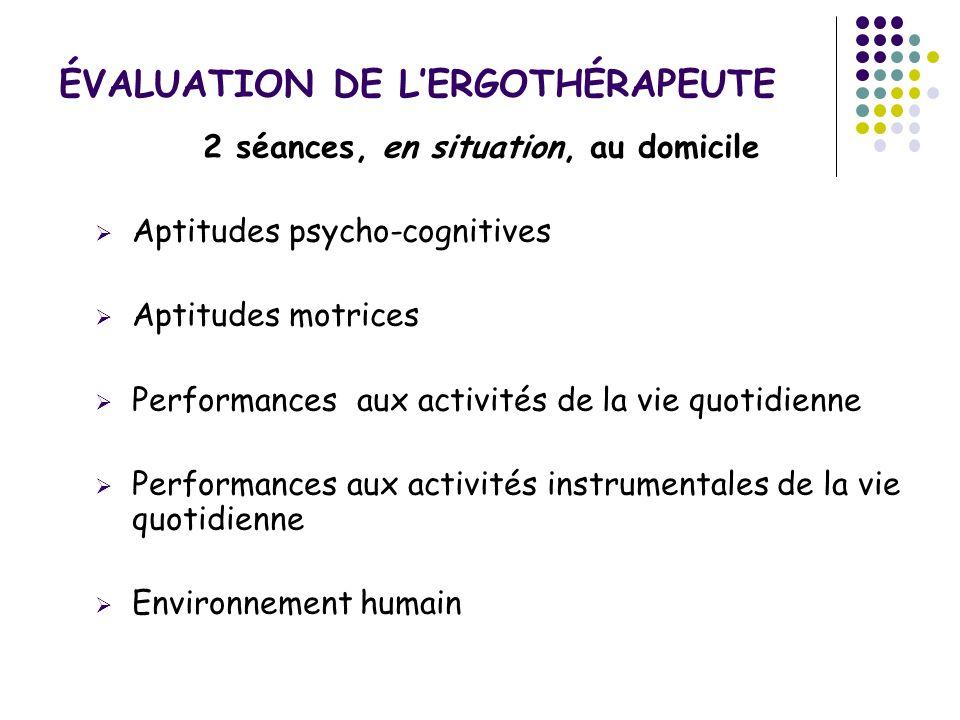 ÉVALUATION DE LERGOTHÉRAPEUTE 2 séances, en situation, au domicile Aptitudes psycho-cognitives Aptitudes motrices Performances aux activités de la vie
