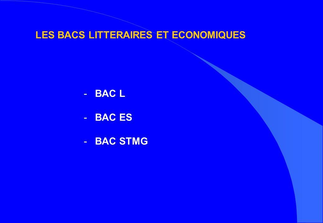 LES BACS LITTERAIRES ET ECONOMIQUES -BAC L -BAC ES -BAC STMG