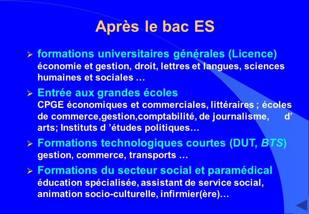 Après le bac ES formations universitaires générales (Licence) économie et gestion, droit, lettres et langues, sciences humaines et sociales … Entrée a