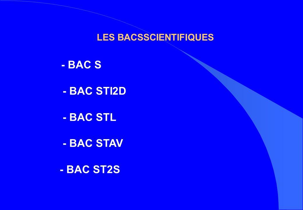 LES BACSSCIENTIFIQUES - BAC S - BAC STI2D - BAC STL - BAC STAV - BAC ST2S
