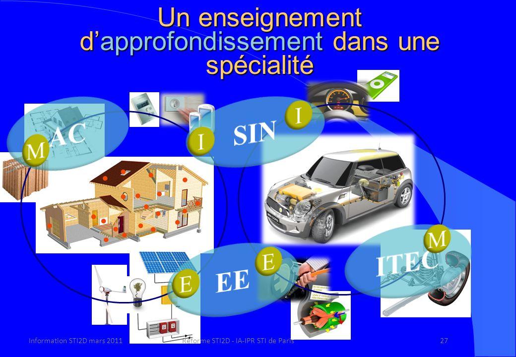 Un enseignement dapprofondissement dans une spécialité Information STI2D mars 2011Réforme STI2D - IA-IPR STI de Paris27