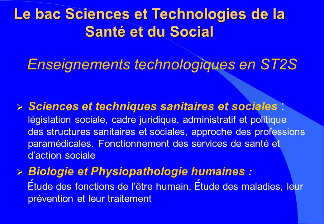 Le bac Sciences et Technologies de la Santé et du Social Enseignements technologiques en ST2S Sciences et techniques sanitaires et sociales : législat