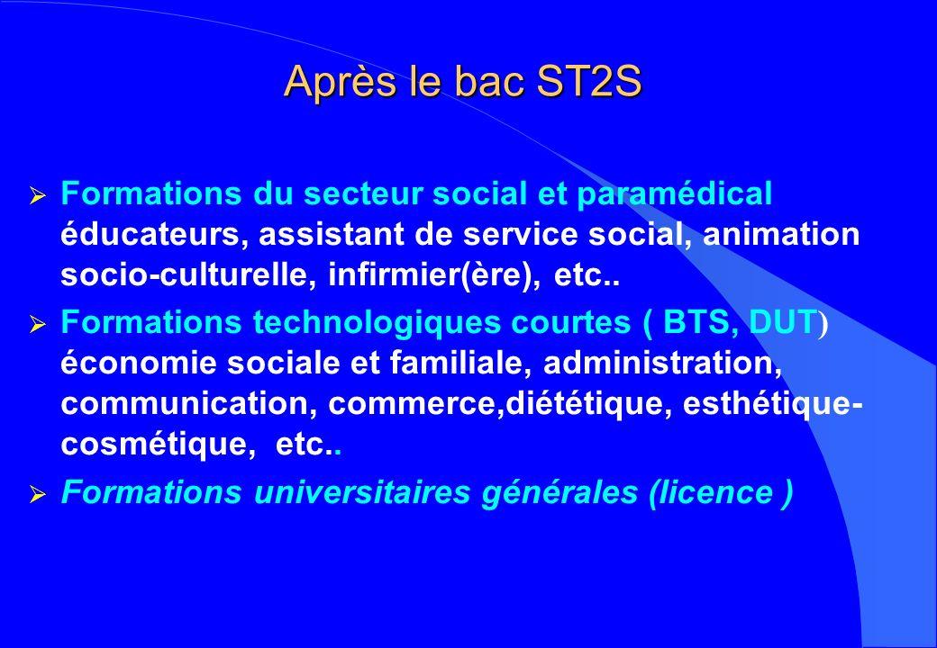Après le bac ST2S Formations du secteur social et paramédical éducateurs, assistant de service social, animation socio-culturelle, infirmier(ère), etc..
