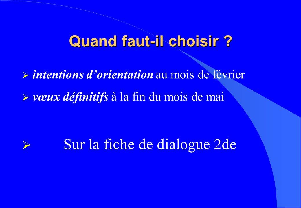 Quand faut-il choisir ? intentions dorientation au mois de février vœux définitifs à la fin du mois de mai Sur la fiche de dialogue 2de