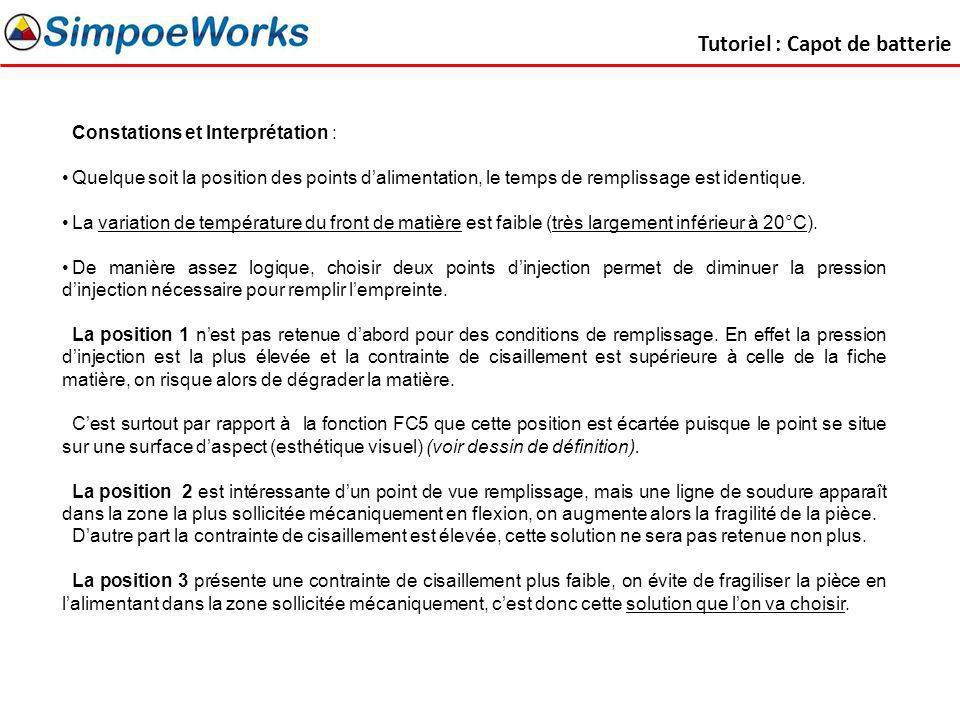 Tutoriel : Capot de batterie Constations et Interprétation : Quelque soit la position des points dalimentation, le temps de remplissage est identique.
