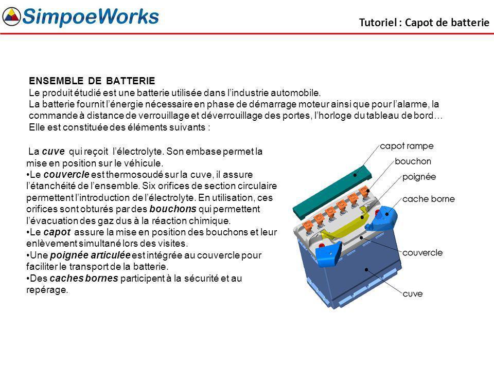 ENSEMBLE DE BATTERIE Le produit étudié est une batterie utilisée dans lindustrie automobile. La batterie fournit lénergie nécessaire en phase de démar