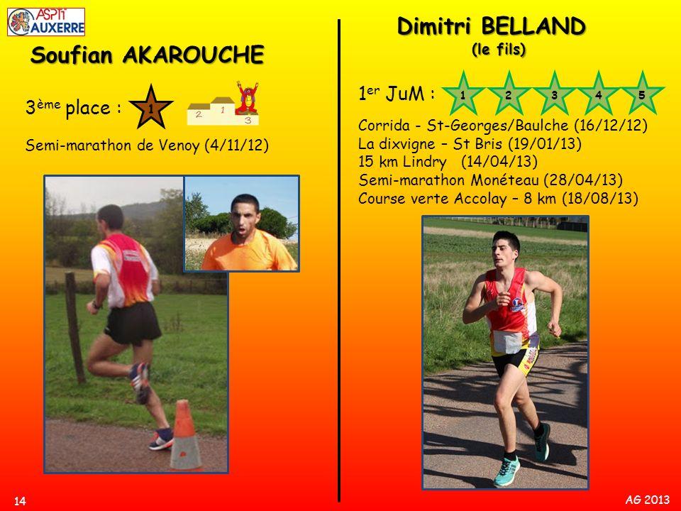 AG 2013 Soufian AKAROUCHE 3 ème place : Semi-marathon de Venoy (4/11/12) 14 Dimitri BELLAND (le fils) 1 er JuM : Corrida - St-Georges/Baulche (16/12/1