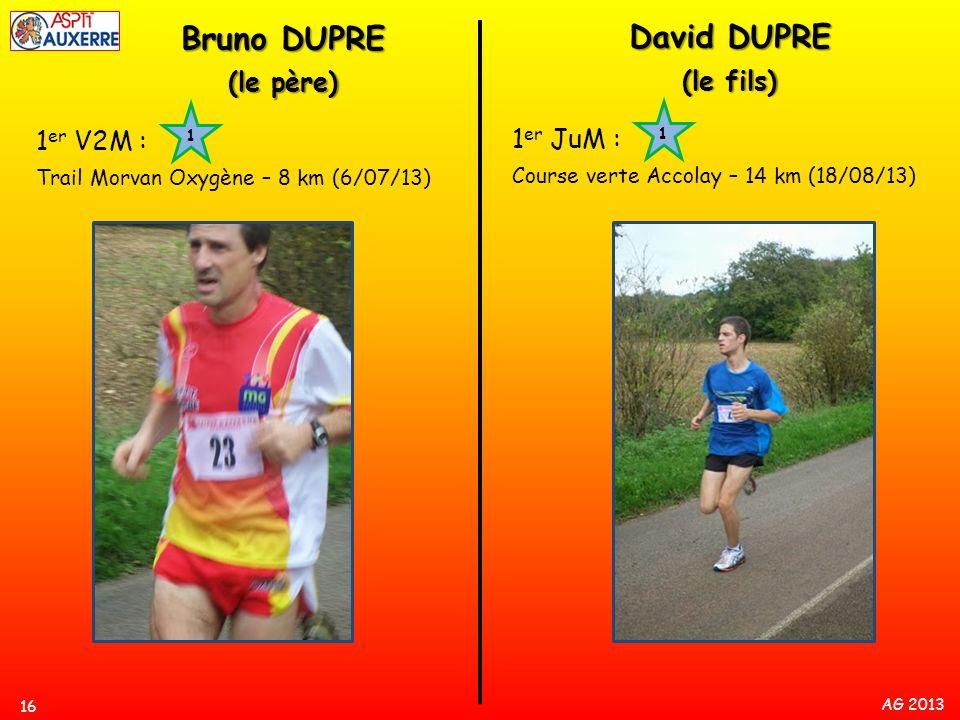 AG 2013 16 1 er V2M : Trail Morvan Oxygène – 8 km (6/07/13) 1 Bruno DUPRE (le père) 1 er JuM : Course verte Accolay – 14 km (18/08/13) 1 David DUPRE (