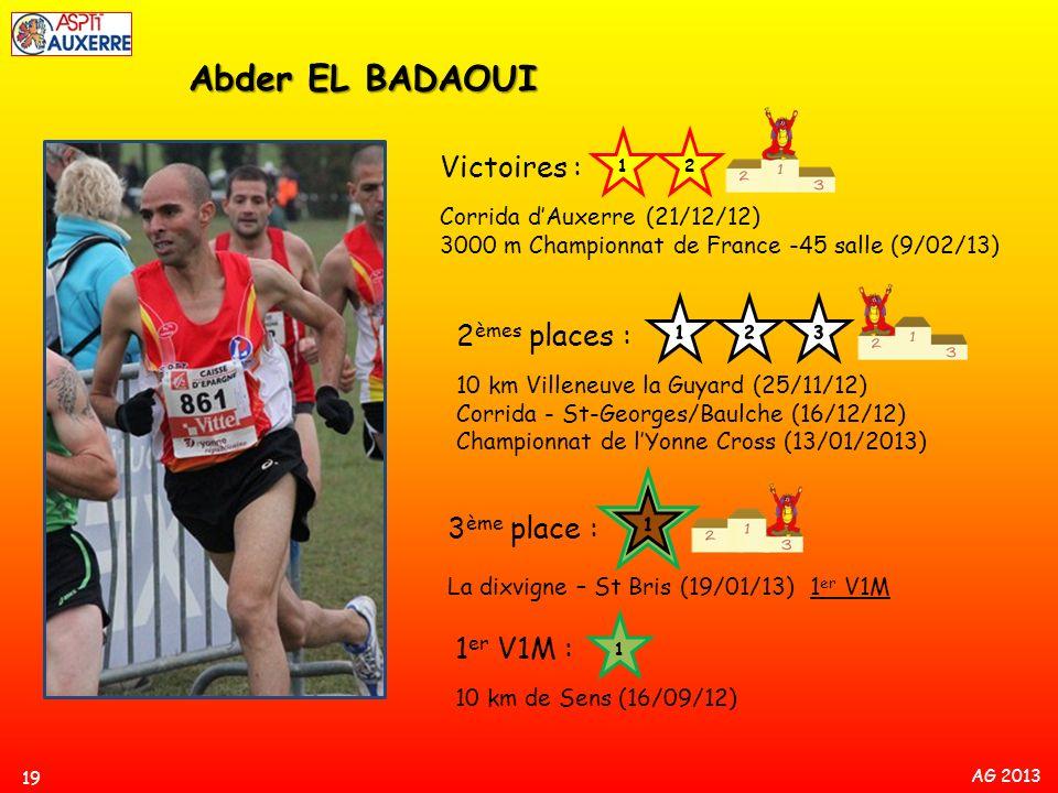 AG 2013 19 Abder EL BADAOUI Victoires : Corrida dAuxerre (21/12/12) 3000 m Championnat de France -45 salle (9/02/13) 2 èmes places : 10 km Villeneuve