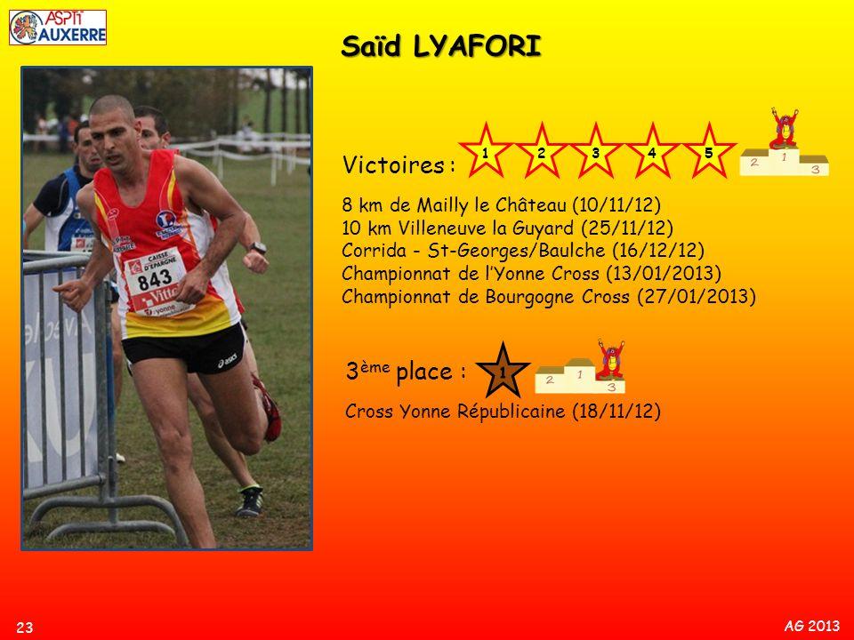 AG 2013 23 Saïd LYAFORI Victoires : 8 km de Mailly le Château (10/11/12) 10 km Villeneuve la Guyard (25/11/12) Corrida - St-Georges/Baulche (16/12/12)