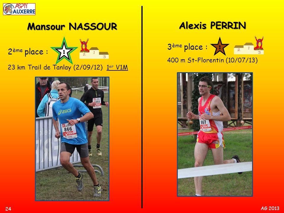 AG 2013 24 Mansour NASSOUR 2 ème place : 23 km Trail de Tanlay (2/09/12) 1 er V1M Alexis PERRIN 3 ème place : 400 m St-Florentin (10/07/13)