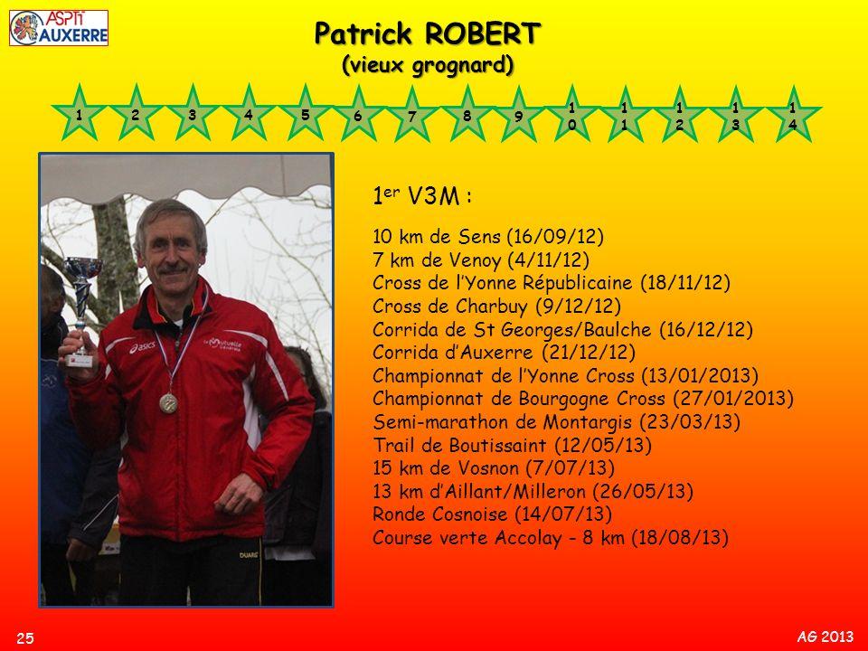 AG 2013 1 er V3M : 10 km de Sens (16/09/12) 7 km de Venoy (4/11/12) Cross de lYonne Républicaine (18/11/12) Cross de Charbuy (9/12/12) Corrida de St G