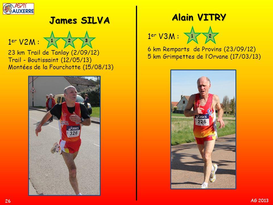 AG 2013 26 1 er V2M : 23 km Trail de Tanlay (2/09/12) Trail - Boutissaint (12/05/13) Montées de la Fourchotte (15/08/13) 12 James SILVA Alain VITRY 1