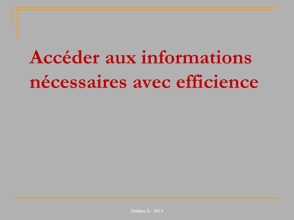 Accéder aux informations nécessaires avec efficience Dollara.fr - 2013