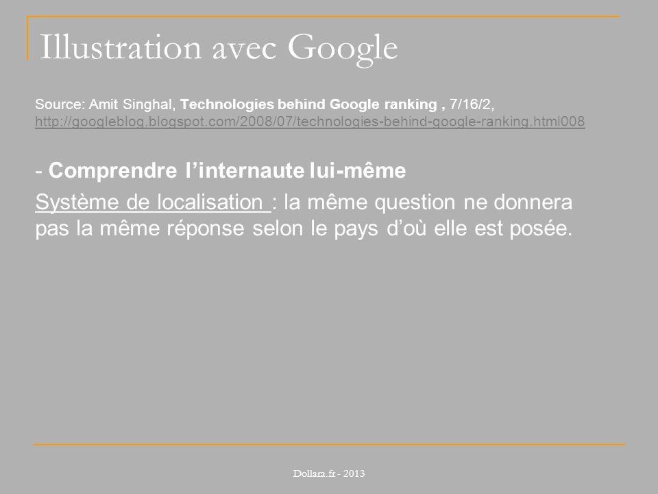 Illustration avec Google Source: Amit Singhal, Technologies behind Google ranking, 7/16/2, http://googleblog.blogspot.com/2008/07/technologies-behind-