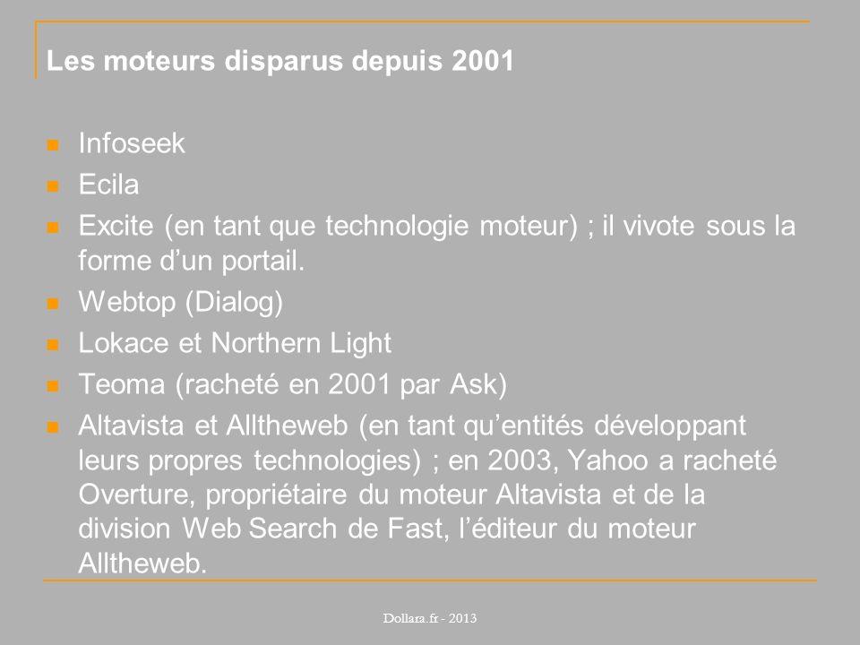 Les moteurs disparus depuis 2001 Infoseek Ecila Excite (en tant que technologie moteur) ; il vivote sous la forme dun portail. Webtop (Dialog) Lokace