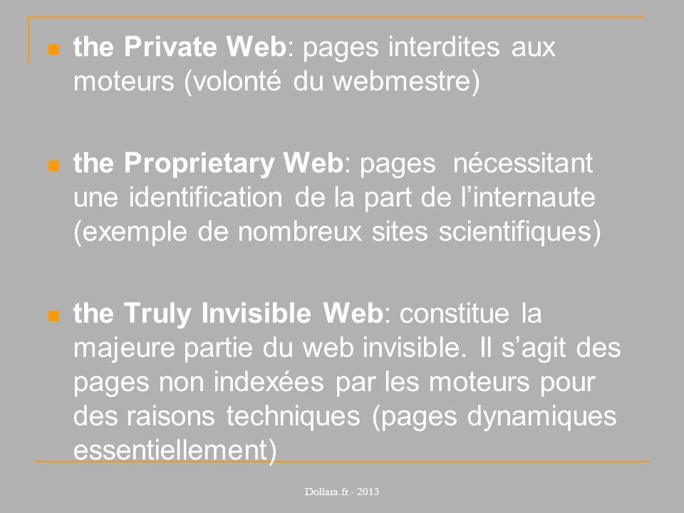 the Private Web: pages interdites aux moteurs (volonté du webmestre) the Proprietary Web: pages nécessitant une identification de la part de linternau
