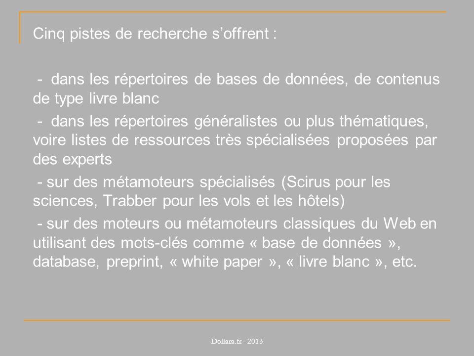 Cinq pistes de recherche soffrent : - dans les répertoires de bases de données, de contenus de type livre blanc - dans les répertoires généralistes ou