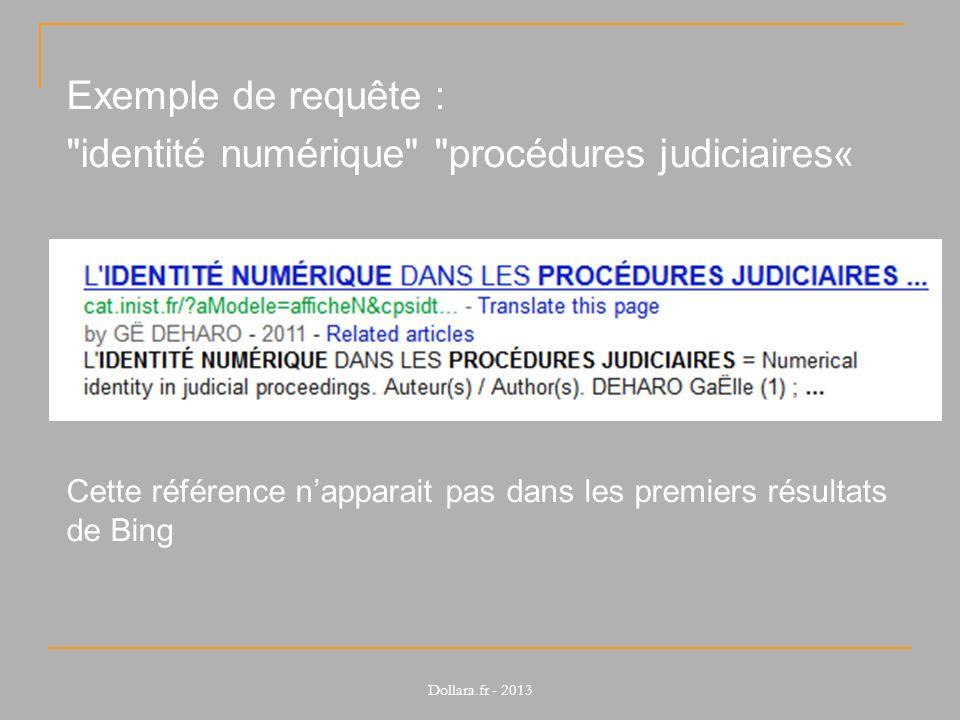 Exemple de requête : identité numérique procédures judiciaires« Cette référence napparait pas dans les premiers résultats de Bing Dollara.fr - 2013